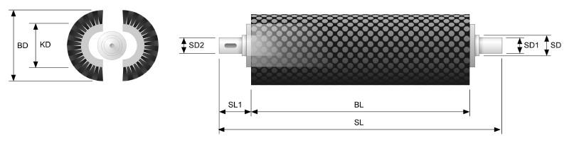 Koti Tufted Roller Brush - Split Core with shaft