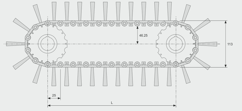 Koti tufted-brush--belt-brush-quick-chain-medium