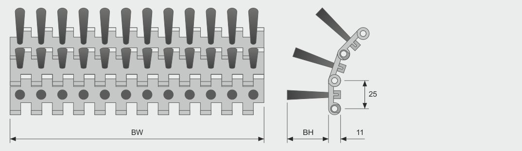 Koti tufted-brush--belt-brush-quick-chain